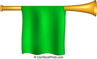 drapeau vert, trompette