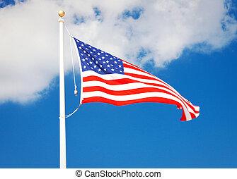 drapeau, voler, américain, vent