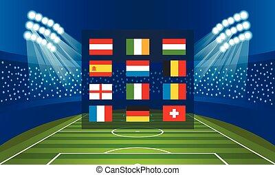 drapeaux, équipes