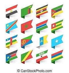 drapeaux, afrique, mondiale