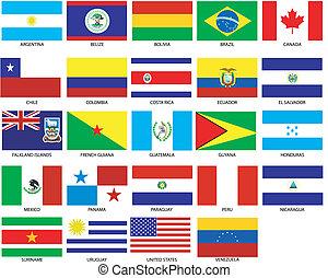 drapeaux, amériques