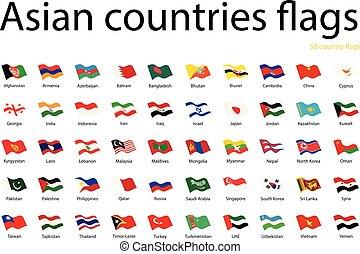 drapeaux, asiatique, pays
