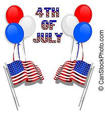 drapeaux, ballons, fond, 4ème juillet