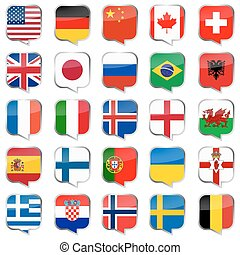 drapeaux, bulles, parole, pays