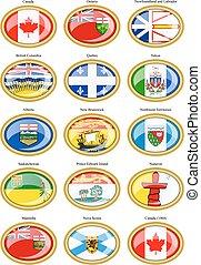 drapeaux, canada, régions