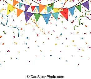 drapeaux, confetti, fête