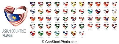 drapeaux, countries., illustrations, national, asiatique, vecteur