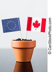 drapeaux, de, europe, et, canada
