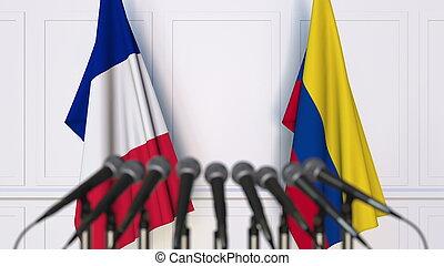 drapeaux, de, france, et, colombie, à, international, réunion, ou, conference., 3d, rendre