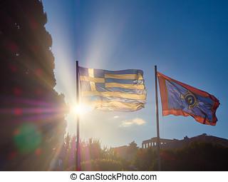 drapeaux, de, grèce, et, athènes, onduler, à, acropole, dans, arrière-plan., athens.