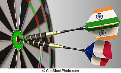drapeaux, de, inde, et, france, sur, dards, frapper, bullseye, de, les, target., international, coopération, ou, concurrence, conceptuel, 3d, rendre