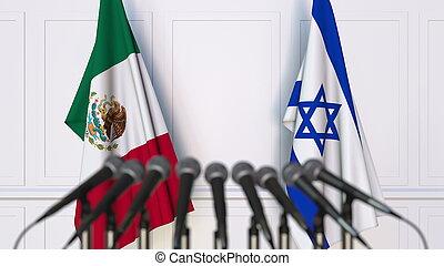 drapeaux, de, mexique, et, israël, à, international, réunion, ou, conference., 3d, rendre
