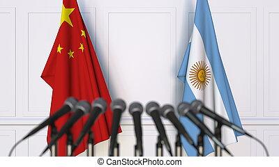 drapeaux, de, porcelaine, et, argentine, à, international, réunion, ou, conference., 3d, rendre