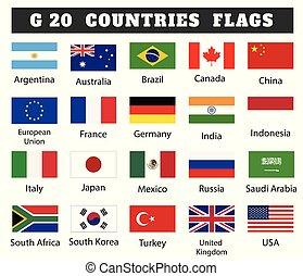 drapeaux, dessin, illustration, g, pays, 20, membre