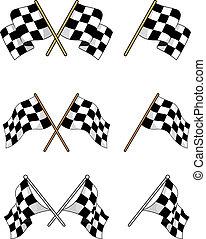 drapeaux, ensemble, courses, checkered