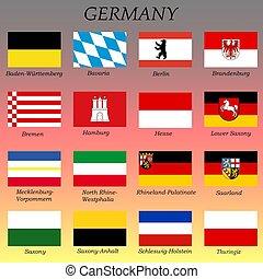 drapeaux, etats, tout, allemand