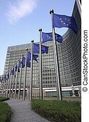 drapeaux européens, dans, bruxelles
