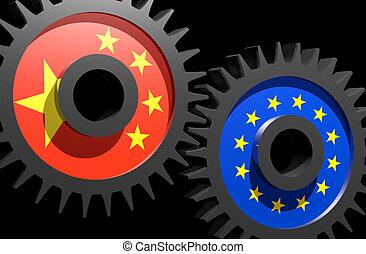 drapeaux européens, union, engrenages, porcelaine, deux
