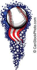 drapeaux, feud'artifice, base-ball, étoiles