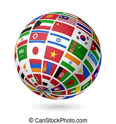 drapeaux, globe., asia.
