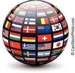 drapeaux, globe mondial