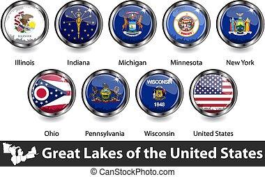 drapeaux, grands lacs, région, nous