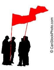 drapeaux, groupe, gens