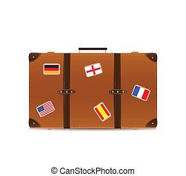 drapeaux, isolé, valise, voyager, blanc