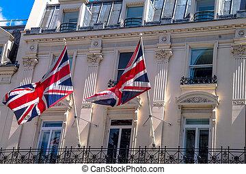 drapeaux, londres, britannique