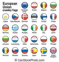 drapeaux, -, membres, eu, pays