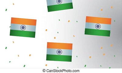 drapeaux, modèle, indépendance, décoration, inde, jour