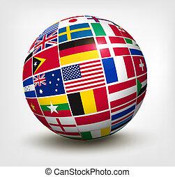 drapeaux monde, dans, globe., vecteur, illustration.
