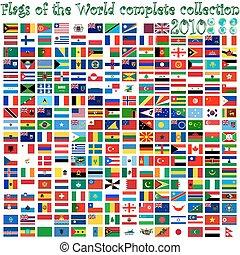 drapeaux monde, et, la terre, globes
