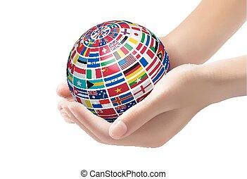 drapeaux monde, sur, a, globe, tenu, dans, hands.