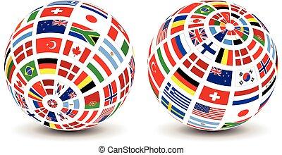 drapeaux monde, sur, a, globe