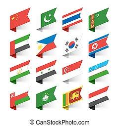 drapeaux, mondiale, asie