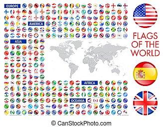 drapeaux, mondiale, national, tout