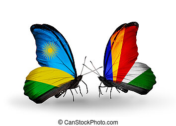 drapeaux, papillons, deux