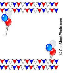 drapeaux, patriotique, frontière, ballons