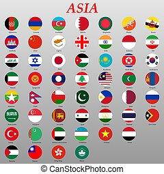 drapeaux, pays, boutons, asiatique
