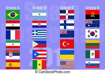 drapeaux, pays, national