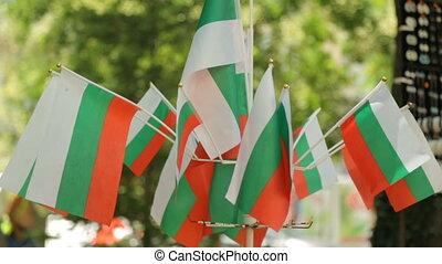 drapeaux, petit, rue marché, bulgare