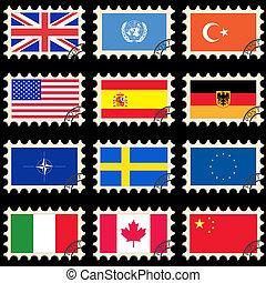 drapeaux, sur, les, poste, timbres