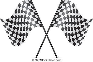 drapeaux, symbole, traversé, courses, vecteur
