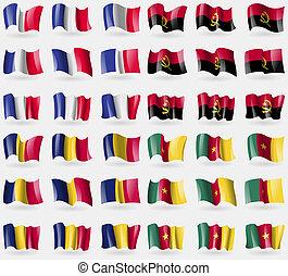 drapeaux, tchad, ensemble, france, angola, world., 36, pays, cameroon.
