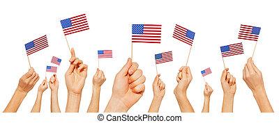 drapeaux, tenant mains, petit, amérique, élévation