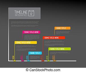 drapeaux, timeline, rapport, gabarit, infographic, coloré