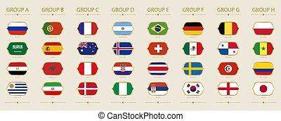 drapeaux, tournoi, groupe, assorti