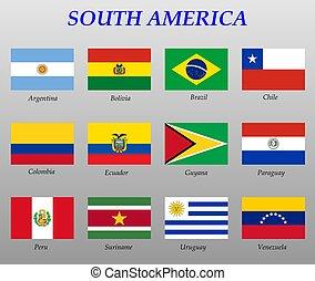 drapeaux, tout, ensemble, amérique sud
