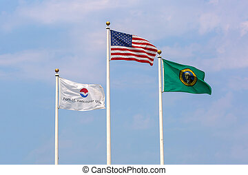 drapeaux, vancouver, washington, port, usa